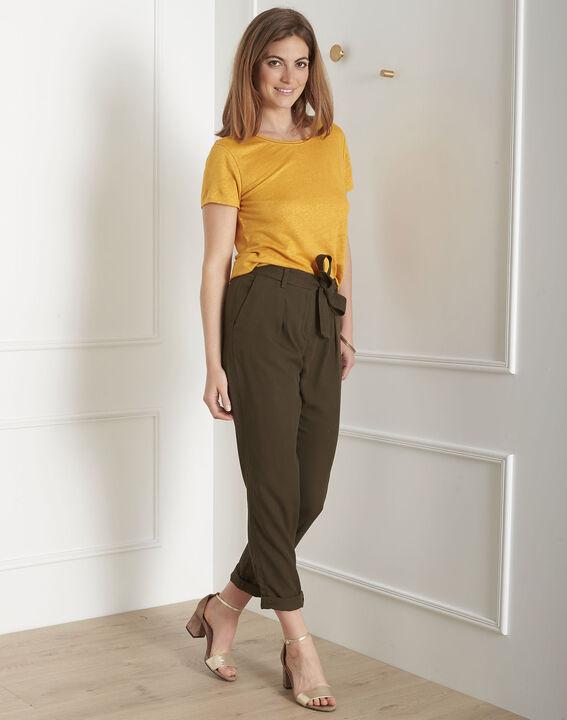 Tee-shirt jaune jour échelle en lin Pin (2) - Maison 123