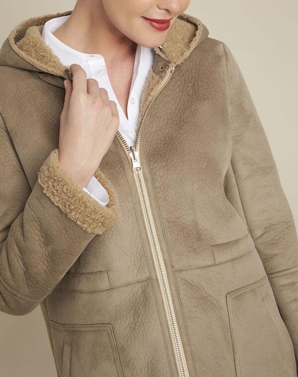 Eleanor ecru suedette effect coat (2) - 1-2-3