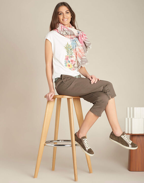 Ecrufarbenes T-Shirt Ananas Emerveille (2) - 1-2-3