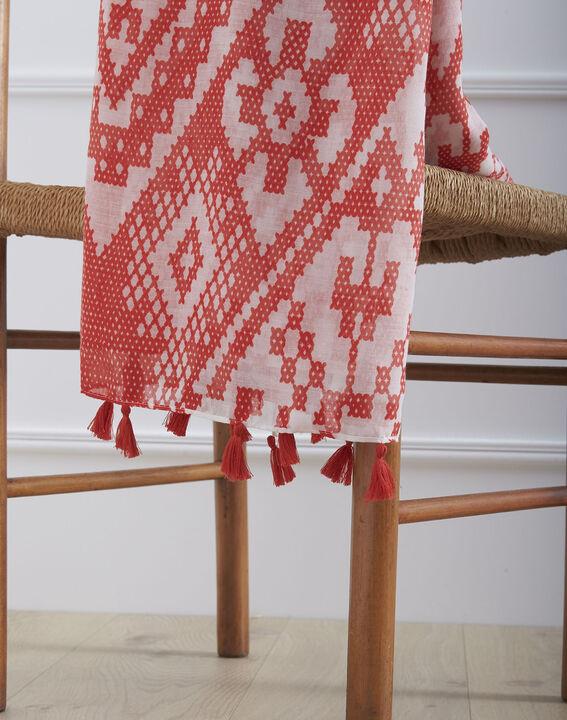 Foulard rouge imprimé à pompons Oriane (2) - Maison 123