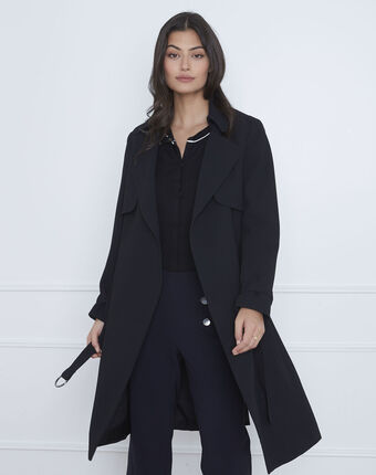 Klara long black coat with tailored collar black.