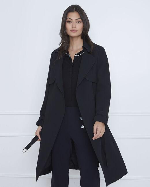Langer schwarzer Mantel mit Reverskragen Klara (2) - 1-2-3