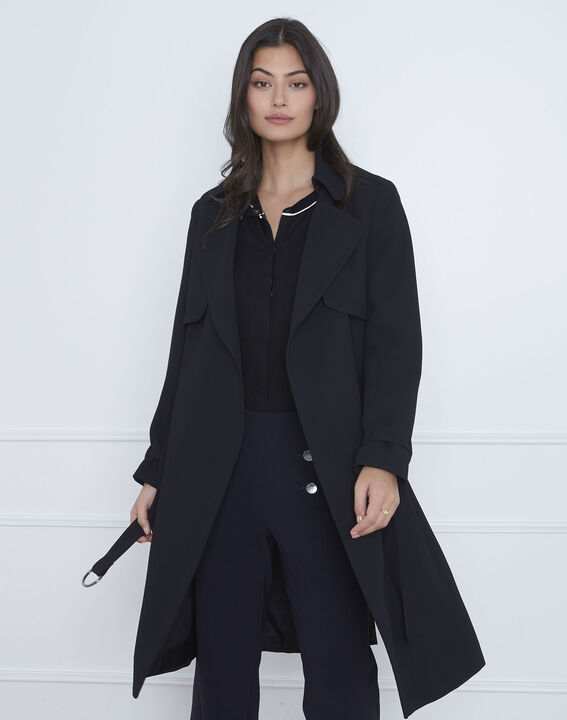 Manteau long col tailleur noir Klara PhotoZ | 1-2-3