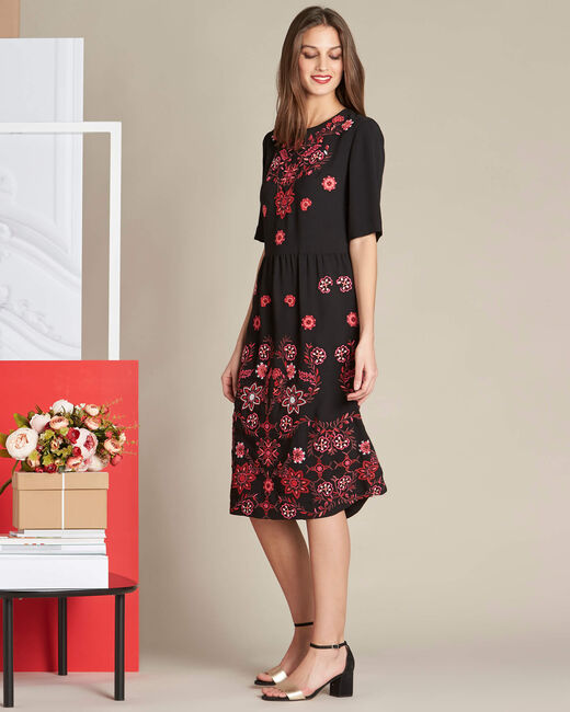 Pavlova mid-length black embroidered dress (2) - 1-2-3