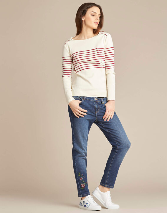 Escorteur striped red sweater with rounded neckline (2) - 1-2-3