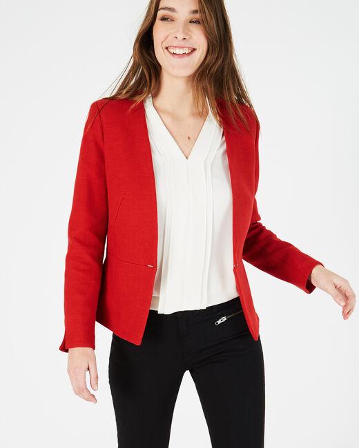 Margot red cotton mix jacket (1) - 1-2-3