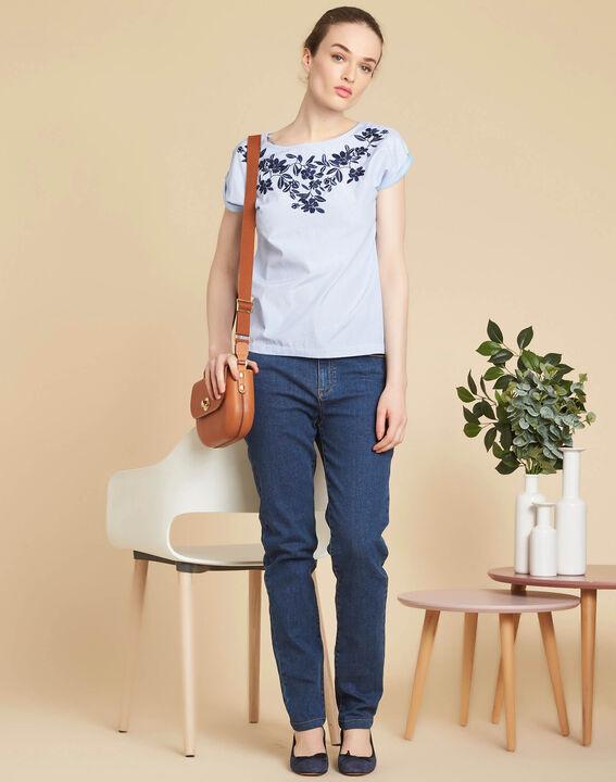 Dunkelblaue Slim-Fit-Jeans hohe Leibhöhe Venice (2) - 1-2-3