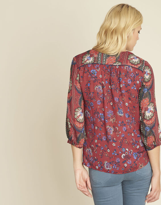 Cécile red blouse with a floral print (4) - Maison 123