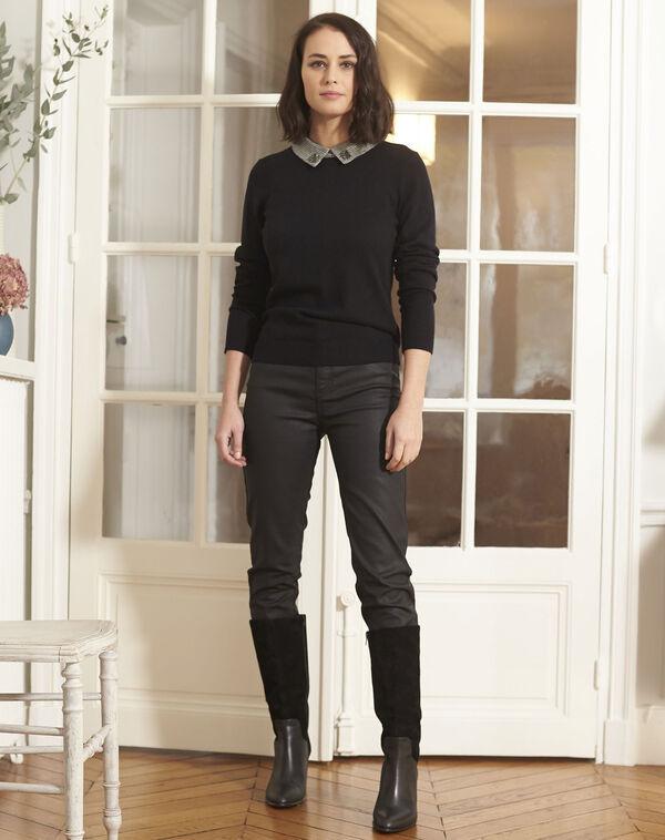 Pull noir encolure chemise bijou Baron (2) - 1-2-3