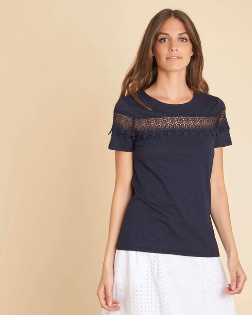 Esun navy blue T-shirt with embroidered neckline (2) - 1-2-3