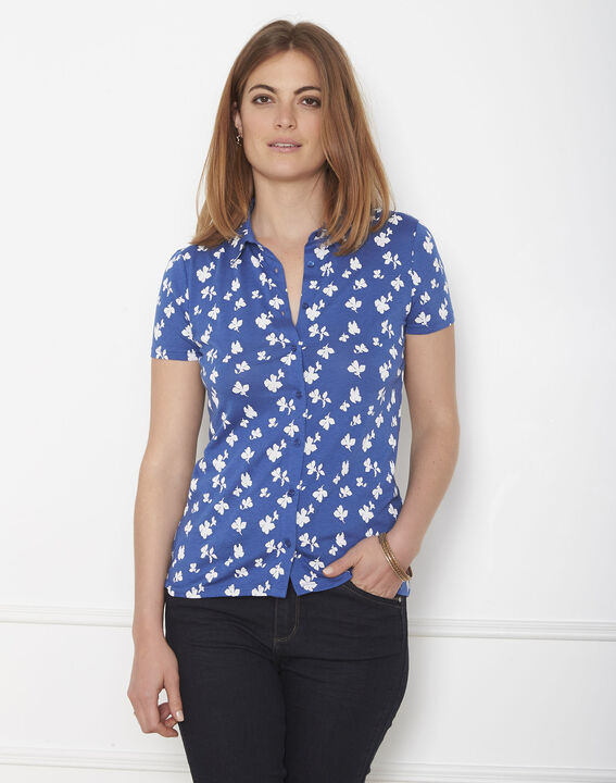Blaues T-Shirt mit Print Patty PhotoZ | 1-2-3