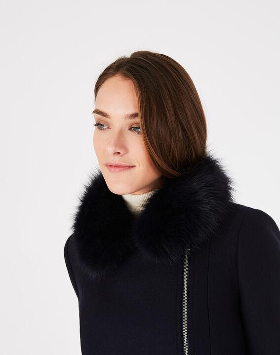Oryanne navy wool-blend coat with fur collar (4) - 1-2-3