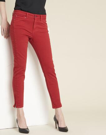 Rode slim fit jeans met ritsen opera potiron.