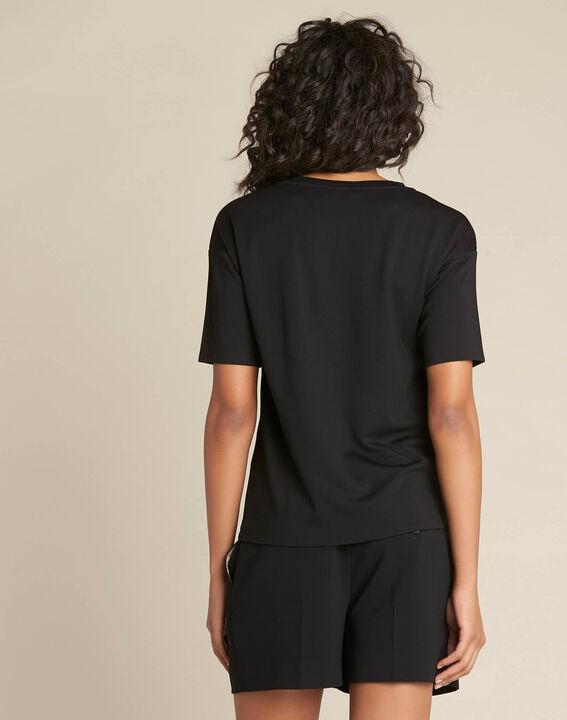 Schwarzes Tupfen-T-Shirt aus Lurex Eclair (4) - 1-2-3