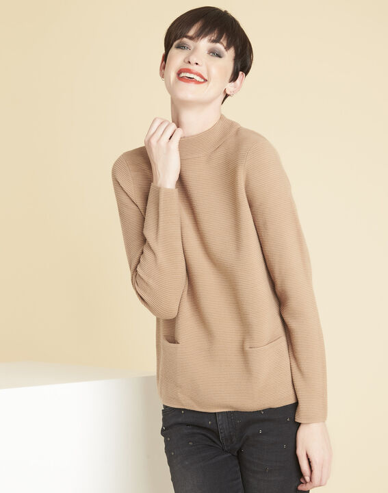 Pull beige maille fine col montant belize