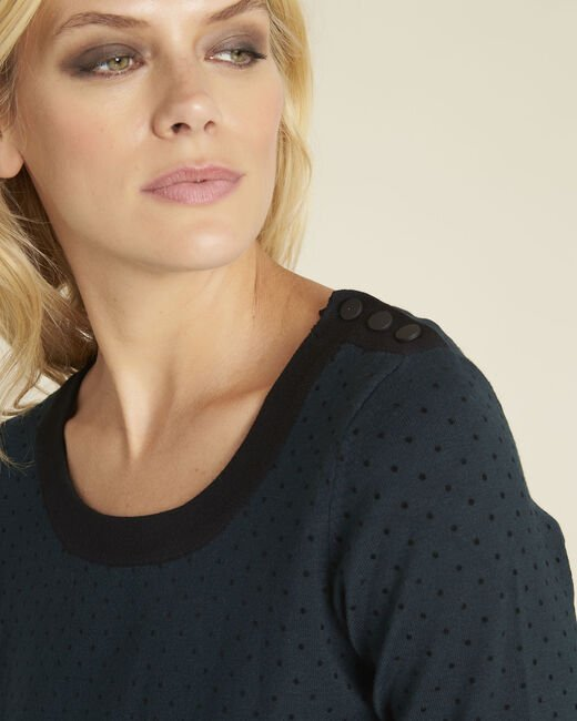Becca dark green polka dot sweater with contrasting trim (1) - 1-2-3