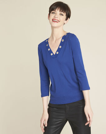 Tee-shirt bleu encolure en v oeillets basic bleu moyen.