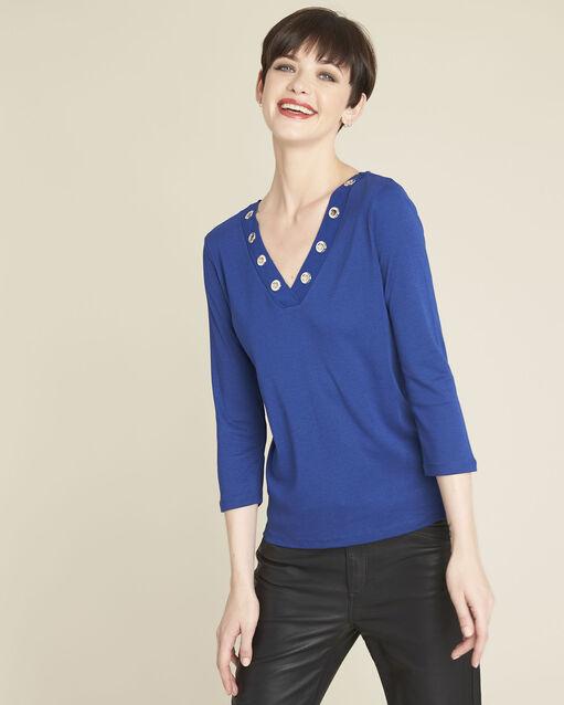 Tee-shirt bleu encolure en V oeillets Basic (1) - 1-2-3