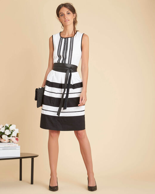 Ingrid black and white dress with decorative neckline (1) - 1-2-3