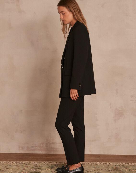 Schwarze, lange und gekreuzte Jacke aus Mikrofaser Florine (3) - Maison 123