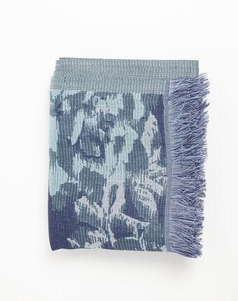 Foulard bleu marine imprimé floral filante marine.