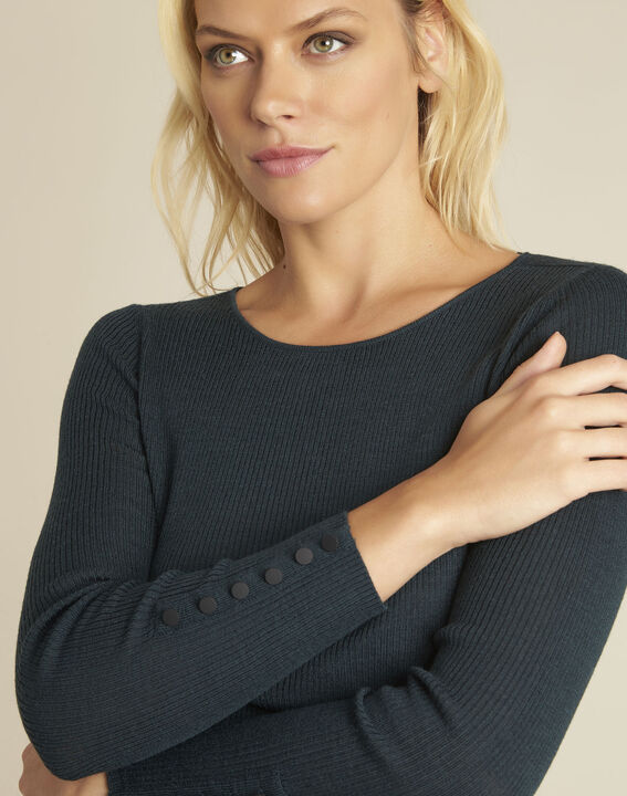 Bassus dark green fine knit pullover with buttoned sleeves (3) - Maison 123