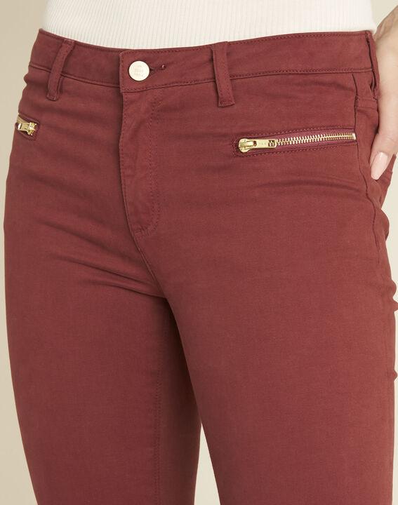 Mahoniebruine rechte jeans met ritszakken Germain (4) - 37653