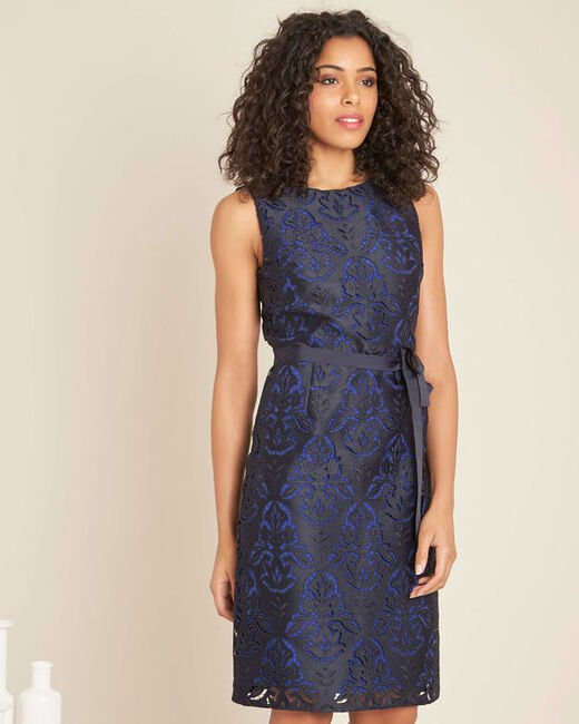 Icone navy lace dress with grosgrain belt (2) - 1-2-3
