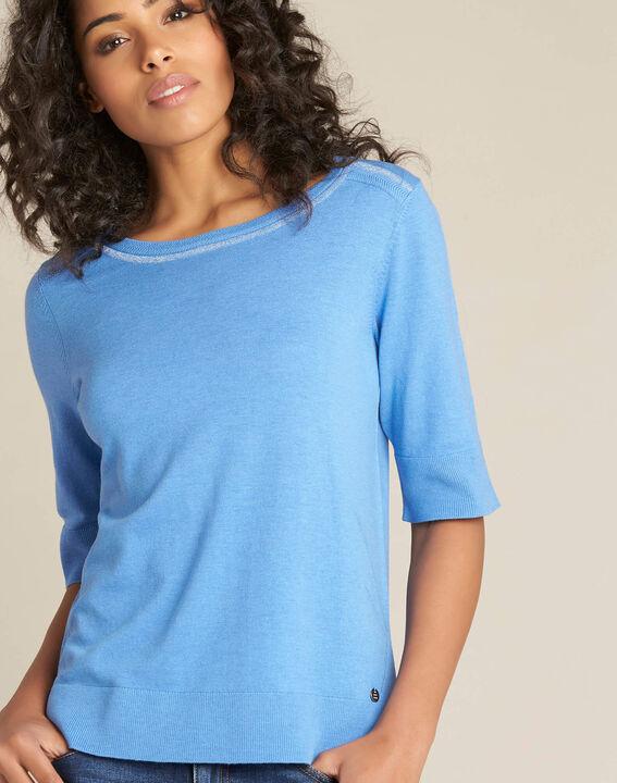 Pull bleu manches courtes laine et soie Nevada PhotoZ   1-2-3