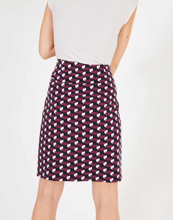 Fantastic navy blue straight-cut tailored printed skirt (3) - 1-2-3