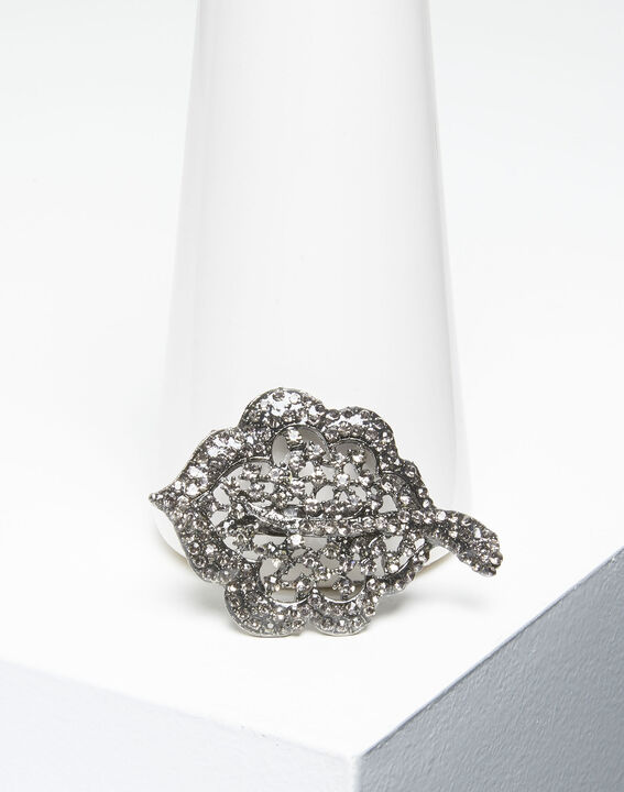 Broche feuille argent et pierres noires Xav (2) - 1-2-3