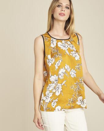 Gelbe bluse mit blumenprint und schleife am rücken canette ocker.