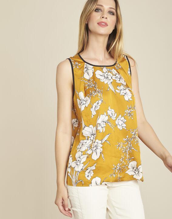 Blouse jaune imprimé fleuri noeud dos Canette PhotoZ | 1-2-3