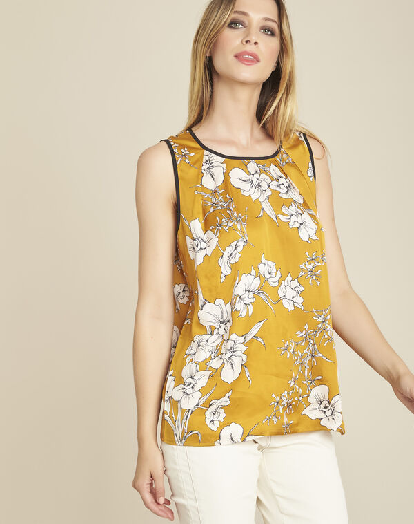 Blouse jaune imprimé fleuri noeud dos Canette (1) - 1-2-3
