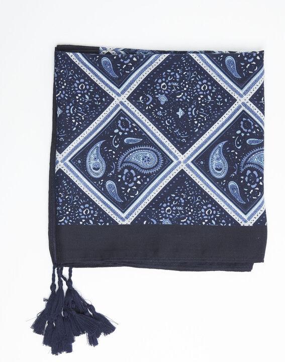 Donkerblauwe sjaal met print van kasjmier Francine (2) - 37653
