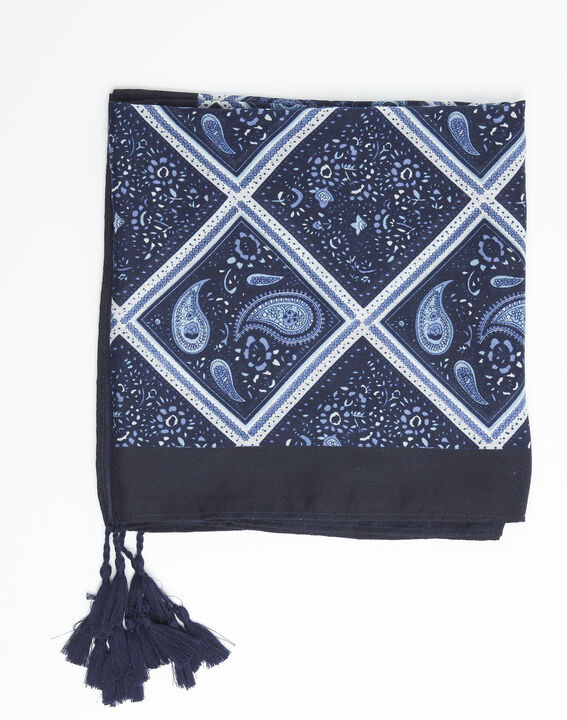 Donkerblauwe sjaal met print van kasjmier Francine PhotoZ | 1-2-3