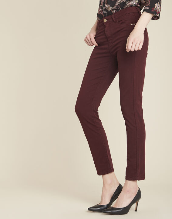 Vendôme 7/8 length slim-cut burgundy cotton satin jeans PhotoZ | 1-2-3