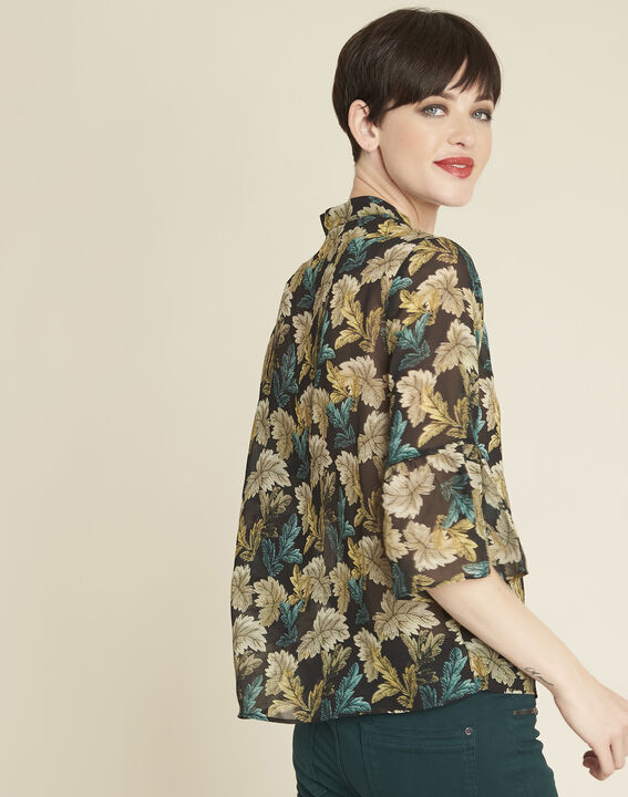 Claudie khaki blouse with leaf print (4) - 1-2-3