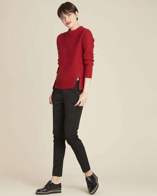 Pull rouge col montant laine mélangée Brindille (1) - 1-2-3