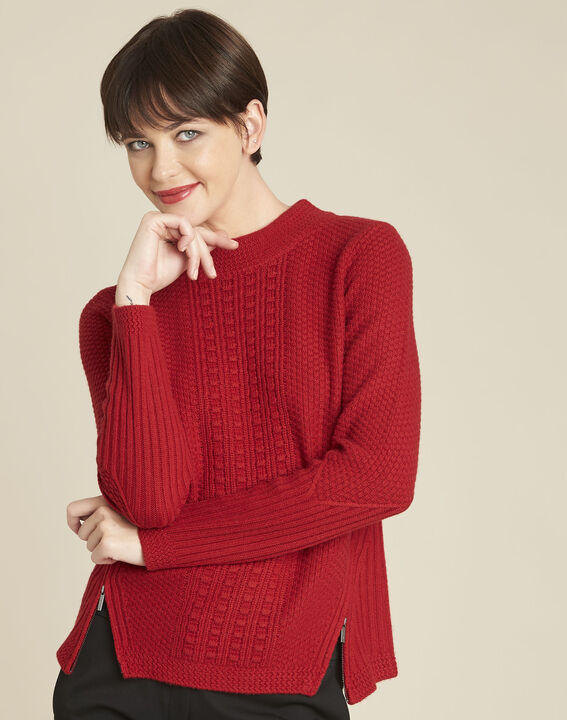 Brindille red high collar wool mix pullover (1) - 1-2-3