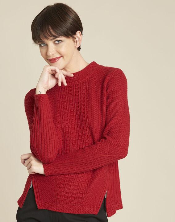 Pull rouge col montant laine mélangée Brindille PhotoZ | 1-2-3
