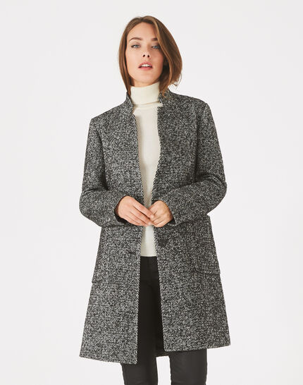 Java black and white coat with notched collar (3) - 1-2-3