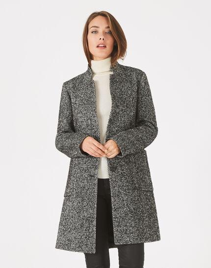 Manteau noir et blanc chiné col cranté Java (3) - 1-2-3