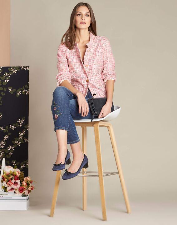 Veste rose pâle en tweed et boutons dorés Cookie (2) - 1-2-3