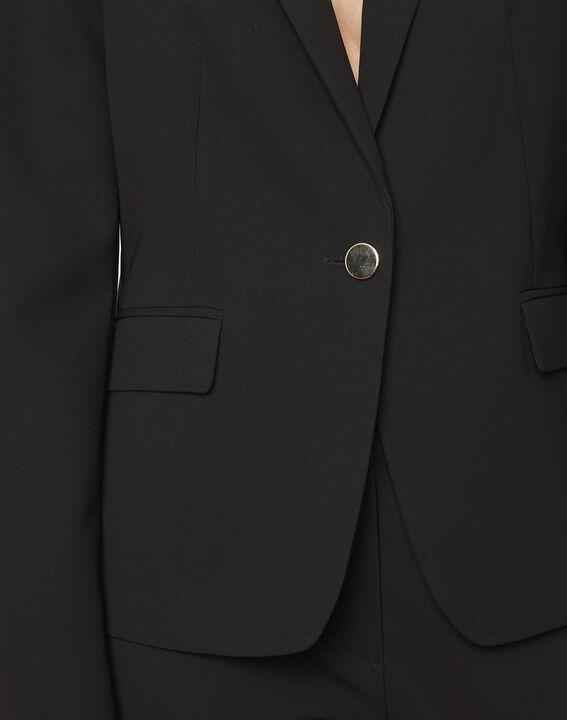 Eve black tailored microfibre jacket (4) - Maison 123