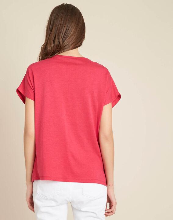 Fuchsienrotes T-Shirt im Materialmix mit Tunika-Kragen Gaia (4) - 1-2-3