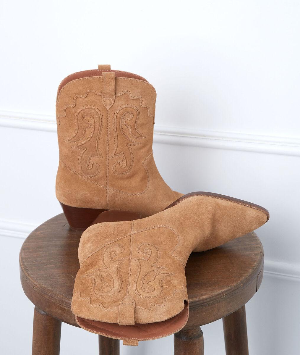 Boots santiags en cuir velours camel Heglantine PhotoZ   1-2-3
