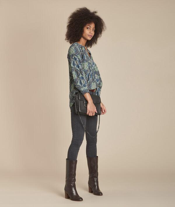 Marineblaue Bluse mit Blumen-Print Marlene PhotoZ | 1-2-3
