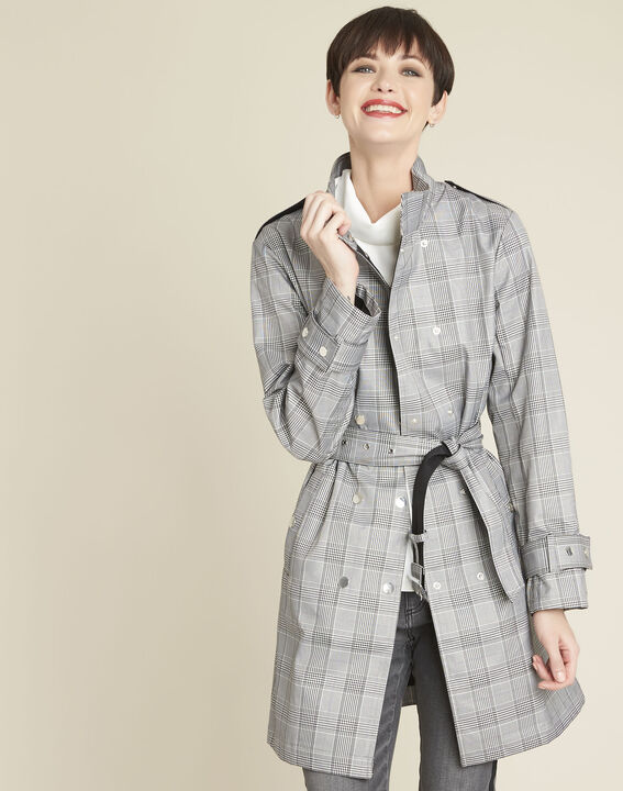 Emilia long checked trench coat (1) - Maison 123