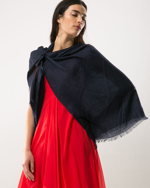 Pat navy blue poncho-style stole (1) - 1-2-3